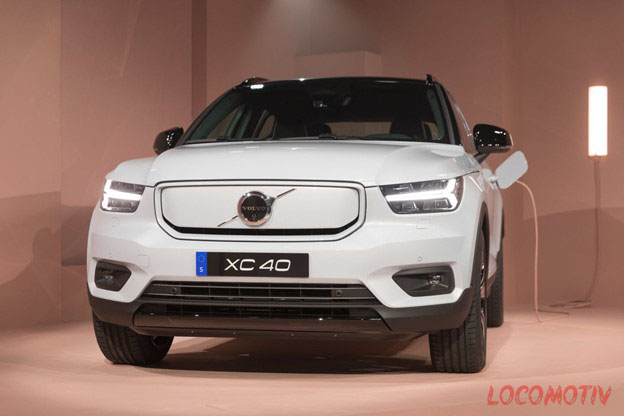 XC40 Recharge white from the front