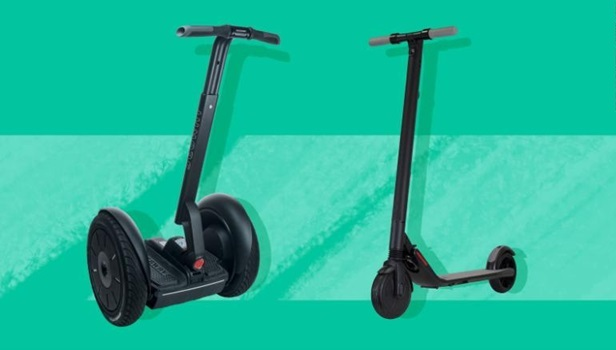 A segway and an electric scooter on green background