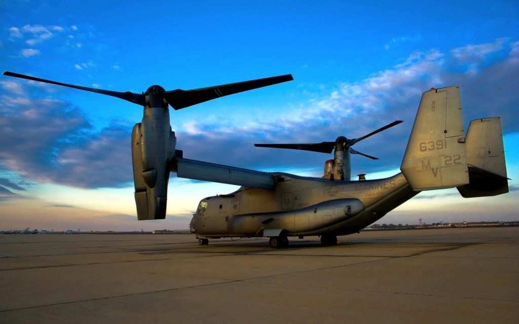 The V-22 Osprey standing in glory at a US base